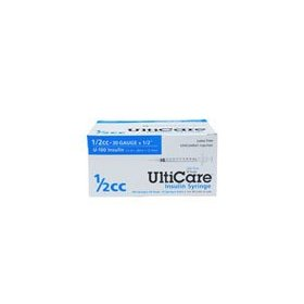 Ulticare insulin syringe u-100, 1/2cc 30g x 1/2, 100/box
