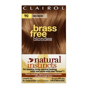 Clairol natural instincts color, 7c brass free dark blonde (pack of 3)