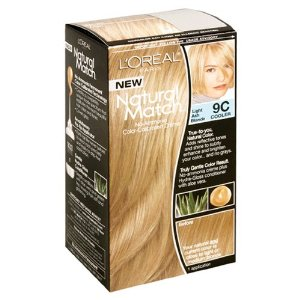 L'oreal natural match no-ammonia color-calibrated creme, light ash blonde, 9c cooler