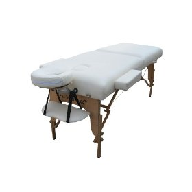 77 long 3 pad cream portable massage table with free adjustable head rest and carry case