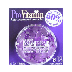 PRO VITAMIN Hair Treatment Capsules Instant Repair Repairs Damaged Hair Instantly 0.63oz/18x1ml (Quantity: 18 Treatments)